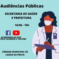 Audiências Públicas de Prestação de Contas do Poder Executivo e Secretaria de Saúde referente ao 1º Quadrimestre de 2021