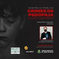 Câmara realiza Audiência Pública sobre Combate à Pedofilia
