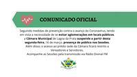 COMUNICADO OFICIAL: Restrição de acesso à Câmara Municipal