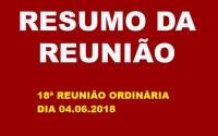 RESUMO DA REUNIÃO ORDINÁRIA DO DIA 04 DE JUNHO