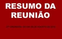 RESUMO DA REUNIÃO ORDINÁRIA DO DIA 06 DE AGOSTO DE 2018.