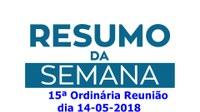 Resumo da reunião ordinária do dia 14 de maio de 2018