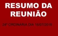 RESUMO DA REUNIÃO ORDINÁRIA DO DIA 16 DE JULHO DE 2018