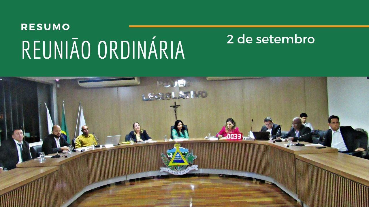 Resumo da Reunião Ordinária do dia 2 de setembro de 2019
