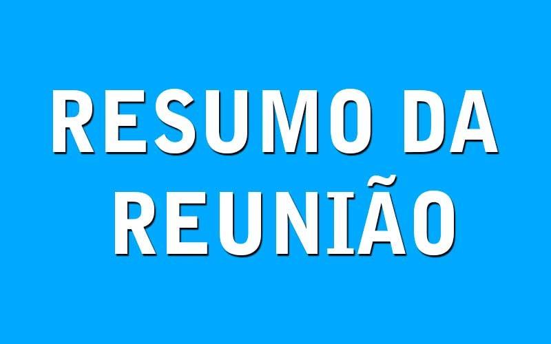RESUMO DA REUNIÃO ORDINÁRIA DO DIA 20 DE AGOSTO DE 2018
