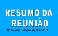 Resumo da Reunião Ordinária do dia 22 julho de 2019