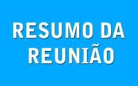 RESUMO DA REUNIÃO ORDINÁRIA DO DIA 29 DE OUTUBRO DE 2018